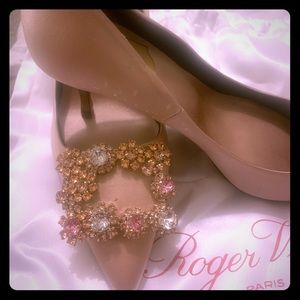 Roger vivier flower strass buckle pumps